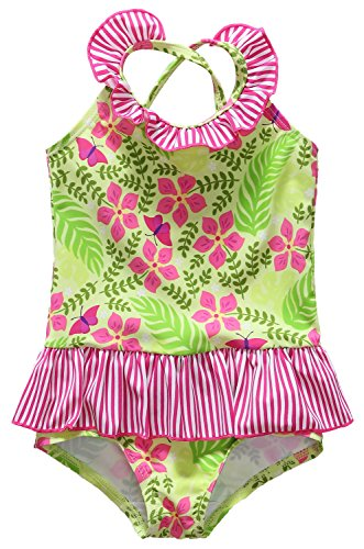 [Alove Baby Girl's Lime Palm One Piece Striped Ruffle Swimsuit 0-6 Months] (0-3 Month Swimming Costumes)