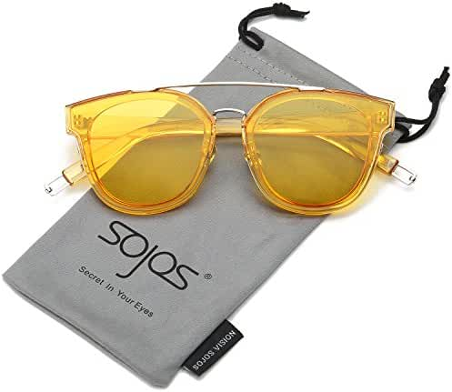 SojoS Classic Mirrored Square Sunglasses for Men and Women Double Bridge SJ2038
