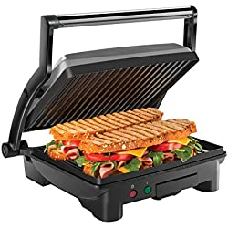 Chefman Panini Press Grill and Gourmet Sandwich Maker, Non-Stick Coated Plates, Opens Stainless Steel Surface and Removable Drip Tray, 4 Slice
