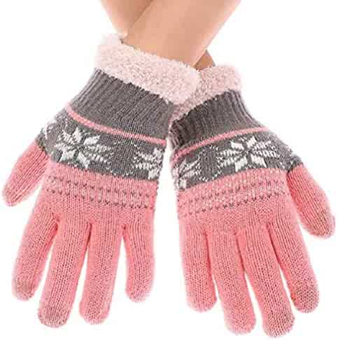 cae15986083 Winter Warm Touchscreen Noctilucent Gloves for Women Outdoor Knit Gloves