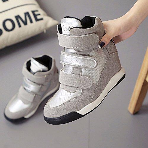 Le È Sportive Il Scarpe Le estive Scarpe Aumentata Tacchi Velcro Scarpe Solo Colore Scarpe GTVERNH Di In donna China scarpe Scarpe Casuali Alti da Autunno Stivali gray Scarpe xwPq67zw