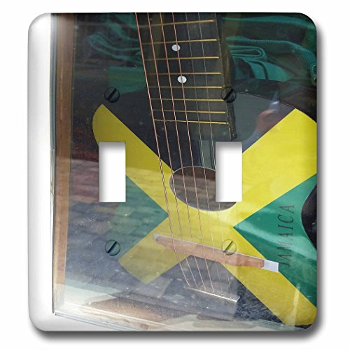 3dRose Florene Cruise Ships Sites - Image Of Jamaican Guitar Painted In Flag Colors - Light Switch Covers - double toggle switch (lsp_253699_2)