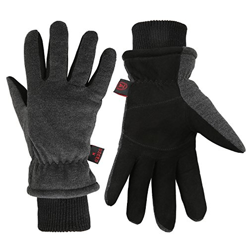 Fantastic Zone Men Winter Gloves, -20°F Cold Proof Thermal Gloves, Deerskin Suede Leather Palm and Polar Fleece Back with Heatlok Insulated Cotton Layer - Keep Warm in Cold Weather by Fantastic Zone