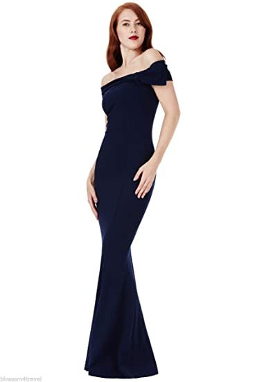 77a6ffae7c9f9 Goddiva Navy Bardot Bow Shoulder Fishtail Maxi Evening Dress Prom  Bridesmaid RRP £47 (8