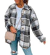 Tanming Women's Casual Plaid Shacket Woolen Long Sleeve Button Down Shirt Coat Jacket