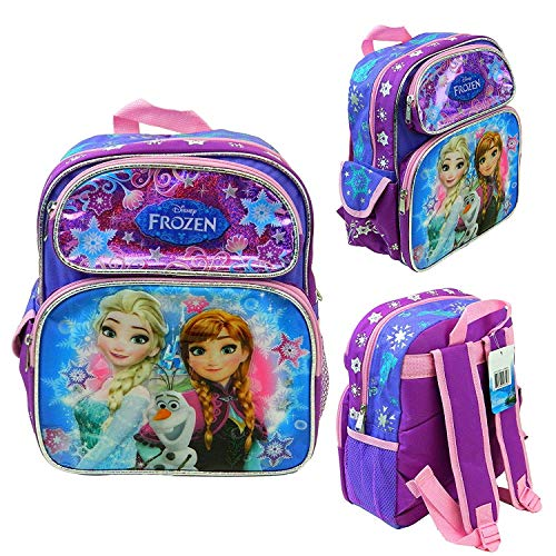 "Disney Frozen Anna Elsa 12"" School Backpack Kid's Toddler Book Bag Canvas New"