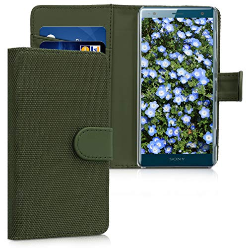 kwmobile Flip Folio Case for Sony Xperia XZ2 Compact - Wallet Style Smartphone Cover Soft PU Nylon in Olive Green