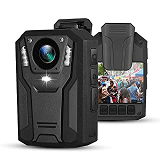 BOBLOV P100 1296P Body Mounted Camera 8-9hrs Recording Wearable Video Recorder Manually Night Vision for Law Enforcement (32G)