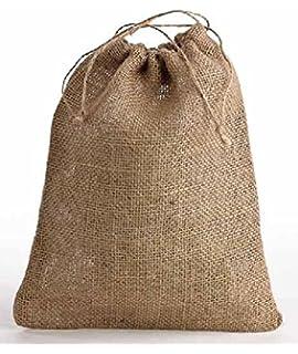 Jute (Hessian) drawstring sacks/bags, natural colour 40cm x 50cm ...