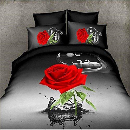 Duvet Cover Sets Black Moonlight Swan Rose large flower pattern Print 3D Bedding Sets 4 Pieces for Adults Bedding Retro Vintage Print Design