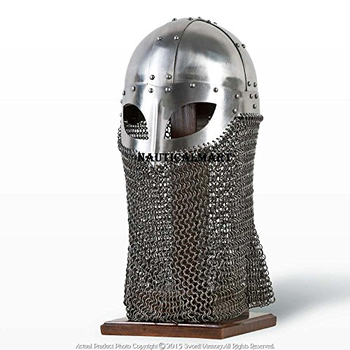 Medieval Battle Ready Viking Vendel Helm Spectacle Helmet Chainmail Camail 18G SCA LARP by NAUTICALMART