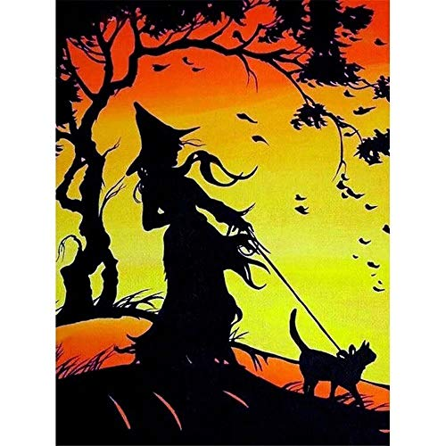 5D Diamond Painting, Full Drill Halloween Witch Black Cat Silhouette?Crystals Diy Resin Kit Home Decor Craft(Frameless) -