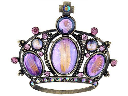 Alilang Rose Pink Purple Crystal Rhinestone Cat Eye Crown Pin Brooch