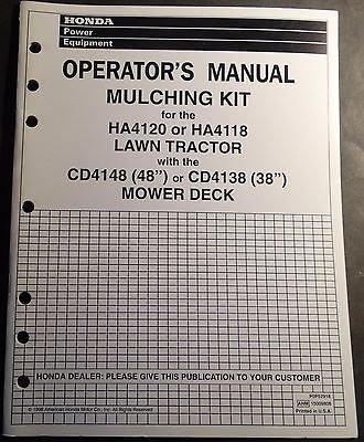 1999 HONDA MULCHING KIT HA4120 & HA4118 LAWN TRACTORS OPERATORS MANUAL (642)
