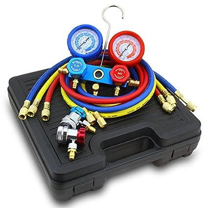Detool 3FT AC Diagnostic Manifold Freon Gauge Set for R134A