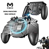 MEO Mobile Game Controller with Cooling Fan [ 6 Finger ] - Mobile Game Aim and Shoot Trigger L1R1 Grip Gamepad Compatible with iPhone/Android [ Black-4000mAh Built-in Battery ]