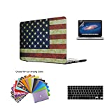 Macbook Pro 13 Retina Case,TECOOL Hard Plastic Shell with Screen Protector and Keyboard Cover for MacBook Pro 13.3 inch Retina Model:A1425 and A1502 (US Flag)