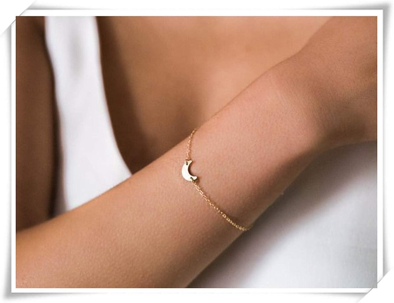 Gold Filled Moon Bracelet Tiny Gold Moon Bracelet Crescent Moon Bracelet Gifts for her Sideways Gold Moon Bracelet Small Moon Bracelet