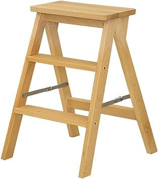 Escaleras Plegables Taburete de 2 escalones Taburete plegable Escalera de madera Escalera de madera de pedal ancho sólido (Taburete de 2 peldaños) Escaleras de Mano (Color : Beige): Amazon.es: Bricolaje y herramientas