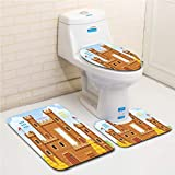 Family bathroom set of 3, bathroom rug + contour pad + lid toilet seat Children,Video Game Background with Castle Leisure Hobby Activity Kids Youth Design,Light Caramel Blue flannel carpet