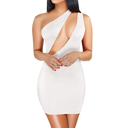 e499545d9ad Amazon.com: Women's Sexy One Shoulder Sleeveless Cutout Bodycon Mini Club  Dress (White, M): Kitchen & Dining