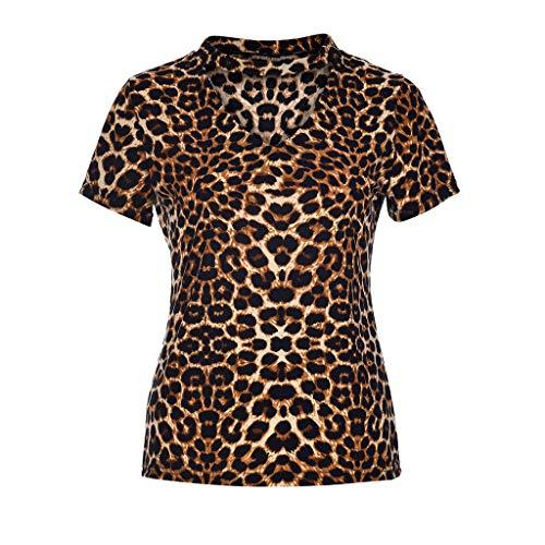 Fashion Women's V-Neck Summer Short Sleeve Casual V Neck Holiday Comfy Shirt Leopard Print T-Shirt Sexy Tops Vacation Yellow