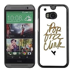 Be Good Phone Accessory // Dura Cáscara cubierta Protectora Caso Carcasa Funda de Protección para HTC One M8 // Pop Text Gold Glitter Minimalist Hear White