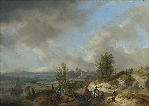 Oil Painting 'Philips Wouwermans A Dune Landscape With A River And Many Figures ' Printing On Perfect Effect Canvas , 10 X 14 Inch / 25 X 36 Cm ,the Best Living Room Decoration And Home Artwork And Gifts Is This Beautiful Art Decorative Canvas Prints