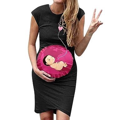 Fashion Women Pregnant Maternity Casual Cute Cartoon Vest Sleeveless Short Dress
