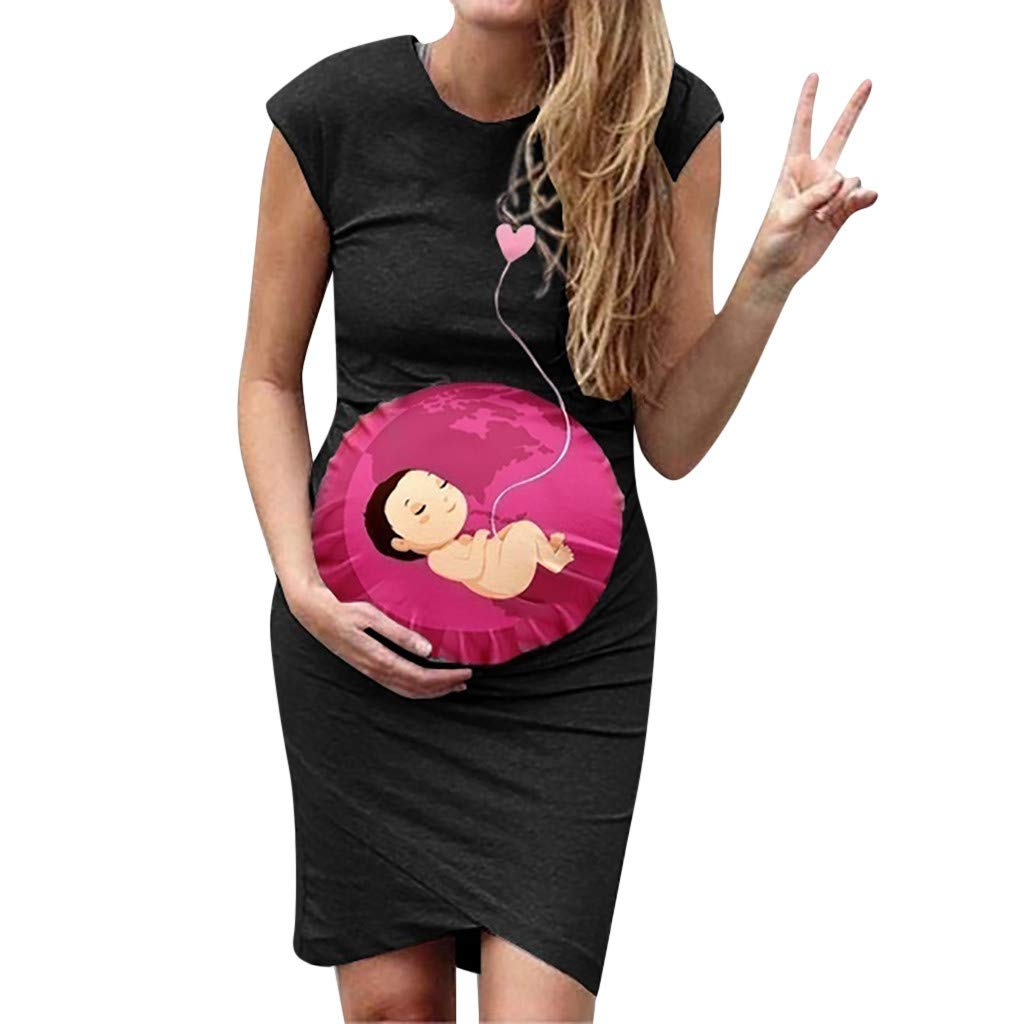 2019 Women Maternity Dress, Pregnancy Lday Sleeveless Cartoon Print Tops Vest Ruched Bodycon Dresses (US:14, Black)