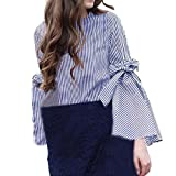 Spbamboo Women Fashion O-Neck Long Sleeves Stripe Flare Sleeve Tops Loose Blouse