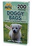 200 BLACK DOGGY BAGS POO BAGS TIE HANDLES FRAGRANCED