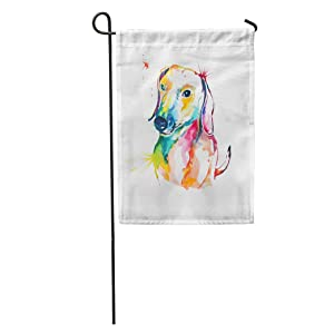 Semtomn Garden Flag Animal Dachshund Hand Watercolor of Dog Bassotto Companion Cute Dash Home Yard House Decor Barnner Outdoor Stand 12x18 Inches Flag
