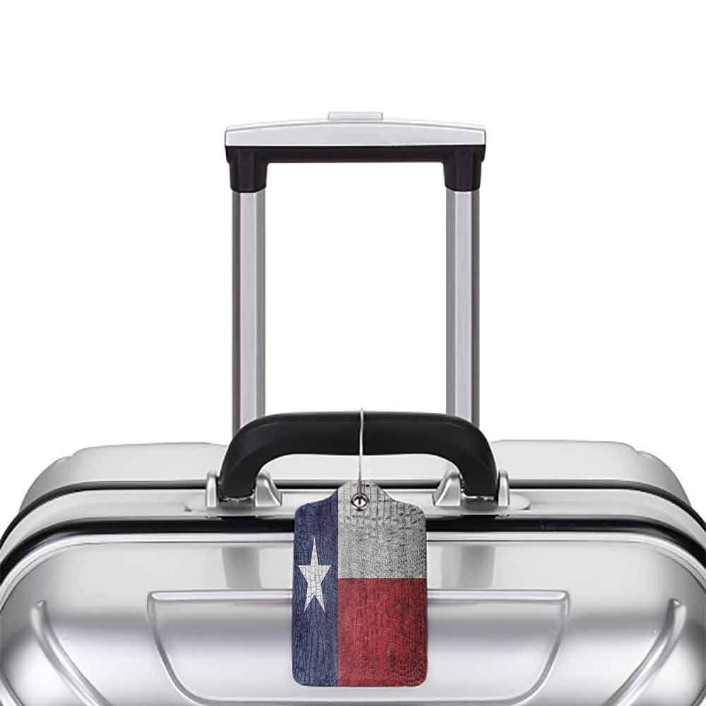 Printed luggage tag Western Decor Collection Texas State Flag Painted on Luxury Crocodile Snake Skin Patriotic Emblem Protect personal privacy Burgundy Navy White W2.7 x L4.6