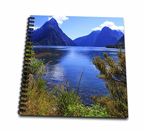 3dRose Danita Delimont - New zealand - Waters of Milford Sound towards Mitre Peak, South Island, New Zealand. - Memory Book 12 x 12 inch (db_257360_2)