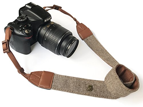 Camera Neck Shoulder Belt Strap,Alled Leather Vintage Print Soft Camera Straps for Women/Men for DSLR/SLR/Nikon/Canon/Sony/Olympus/Samsung/Pentax (Soft Brown New) ()