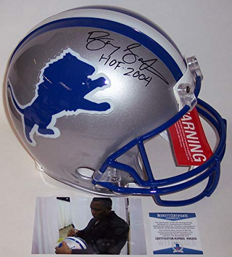 2004 Authentic Throwback Helmet - Barry Sanders Autographed Hand Signed Detroit Lions Throwback Full Size Authentic Football Helmet - with HOF 2004 Inscription - BAS Beckett