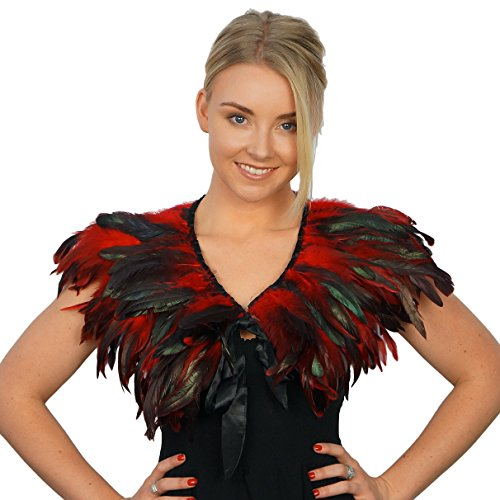 Feather Cape Costume (Zucker Feather Products CLCQ--R Products Rooster Coque Feather Cape, Red)