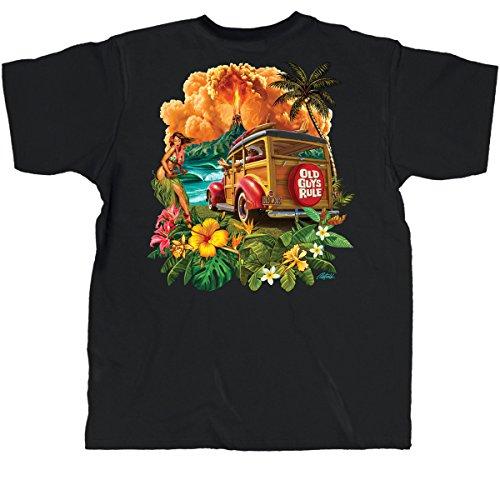 Old Guys Rule Mens Hula Woodie Black Pocket T-Shirt XX-Large Black  (Hawaiian Motorcycle Shirt)