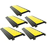 5-Pack Bundle of 5-Channel Modular Industrial Rubber Cable Ramp Middle Sections