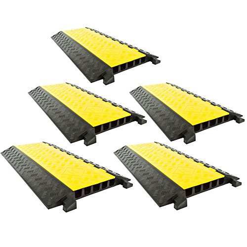 5-Pack Bundle of 5-Channel Modular Industrial Rubber Cable Ramp Middle Sections by Rage Powersports