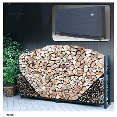 ShelterIt Straight Firewood Log Rack with Kindling Wood Holder and Waterproof Cover, 8', Black