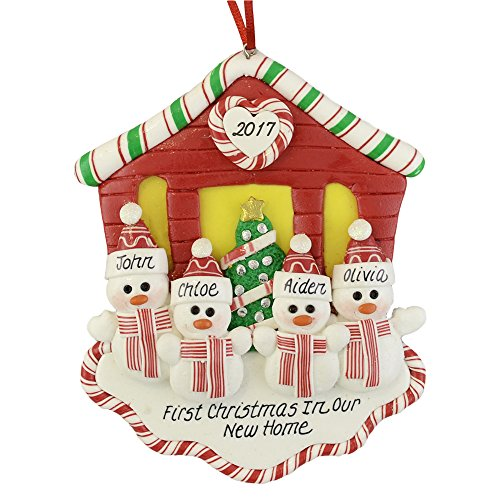 Calliope Designs First Christmas in Our New House for Family of 4 Christmas Ornament Handcrafted - 4.5