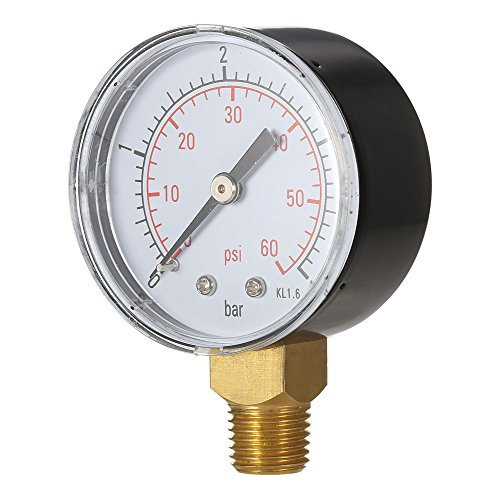 Walmeck 50mm 0~60psi 0~4bar Pool Filter Water Pressure Dial Hydraulic Pressure Gauge Meter Manometer 1/4