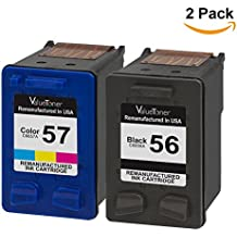 Valuetoner Remanufactured Ink Cartridges Replacement for Hewlett Packard HP 56 & HP 57 C9321BN C6656AN C6657AN (1 Black, 1 Tri-Color) 2 Pack