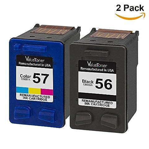 Valuetoner Remanufactured Ink Cartridge Replacement For 56&57 C9321BN C6656AN C6657AN (1 Black, 1 Tri-Color)2 Pack,Compatible with Deskjet 5150 5550 5650 Photosmart 7150 7260 7350 Officejet 4105 - Jet Ink Cartridge Cartridges