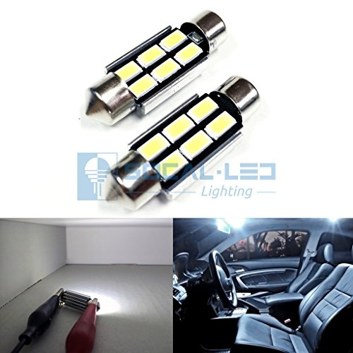SOCAL-LED 2x 3710 36mm Festoon LED Bulbs Canbus 6W High Power Bright SMD 5730 Interior Dome Light, Map Light, (Bulb 36 Mm Festoon)