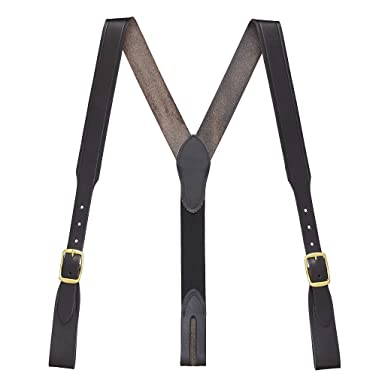 0414ddb42 SuspenderStore Men s Plain w Crease Handcrafted Western Leather Belt Loop  Suspenders - BLACK