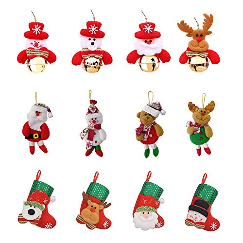 ToyGuide 12 Pcs Christmas Tree Ornaments Sets, Christmas Stockings with Plush Snowman Santa Claus Polar Bear Elk, Home Hanging Bells Decorations for X-mas Holiday Party Decor