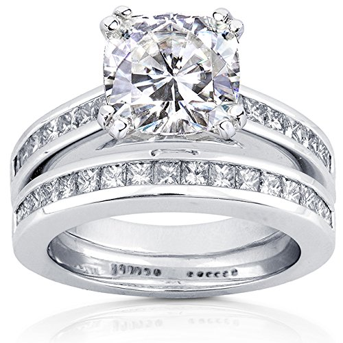 Cushion-cut Moissanite Bridal Set with Diamond Ring 3 CTW 14k White Gold